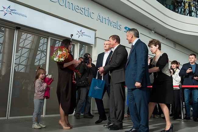Первый рейс встречали глава Республики Крым Сергей Аксёнов