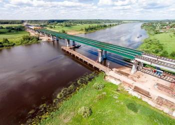 Строительство моста через Волхов на трассе М-11