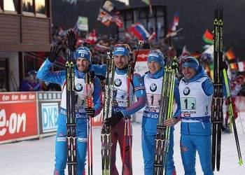 Российские биатлонисты выиграли эстафету на этапе Кубка Мира по биатлону